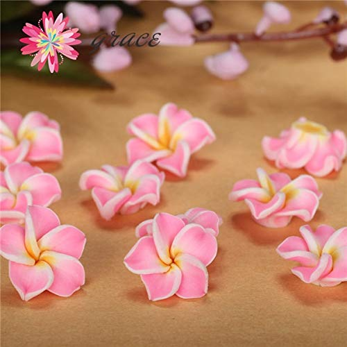 - Pukido 100pcs/lot 15mm Polymer Clay Fimo Miniature Frangipani Plumeria Flower Beads Supply DIY Earring Bracelet Making Hair Accessories - (Color: Pink)