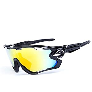 F-sport 2016 Newest Outdoor Sports Fashion Sunglasses.Great For Cycling Driving Hiking Skiing or Fishing.Changeable Lenses and Unbreakable High strength(New Black)