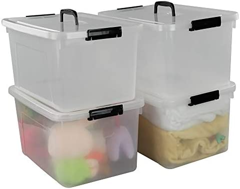 Begale 17.5 Quart Plastic Large Storage Container, Clear Latch Bin with Handle and Lid, 4-Pack