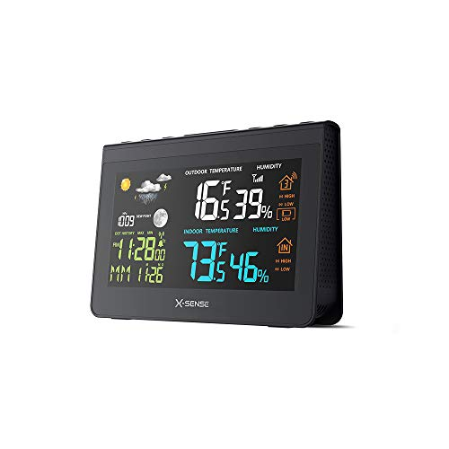 Wireless Weather Station X-Sense Forecast Station with 500 ft Wireless Range, Large Backlit Color LCD, Atomic Clock, Accurate Temperature, Humidity, and Temperature/Time Alert (And Clocks Outdoor Gauges Temperature)
