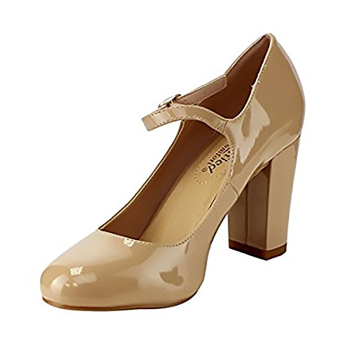 Heel Womens Comfort High City patent Classified Jane Nubuck Faux Chunky Mary beige Leather Nola EPq5yA5x4w