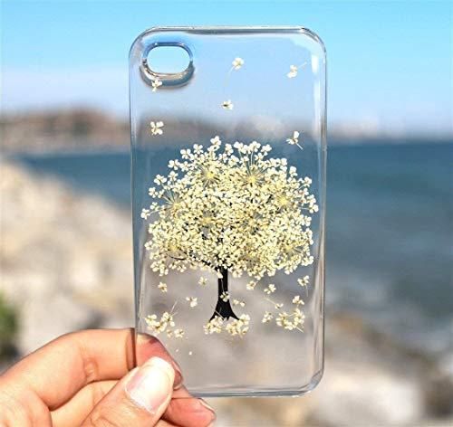 (White Tree Blossom iPhone X, XS, Xs Max, XR, iPhone 8, 7 Case- Pressed Dried Flowers On iPhone 8 Plus, 7 Plus, 6/6s, 6/6s Plus, 5/5s, SE, 4/4s Clear Snap on Case Cover: Winter White Tree Design)
