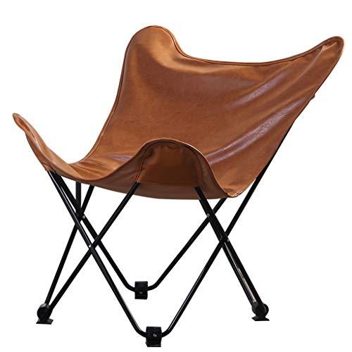 (GLJDZJ Qiuqi Home Modern Minimalist Leather Butterfly Chair Creative Moon Chair Leisure Lazy Sofa Folding Chair)