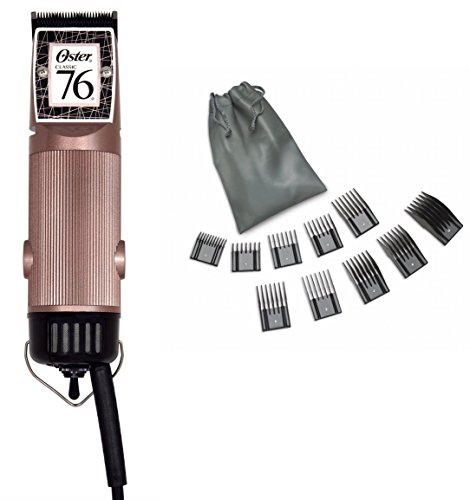 Oster Rose Gold Classic 76 Universal Motor Clipper with Detachable 000 Blade, & 10 Piece Oster Combs Set