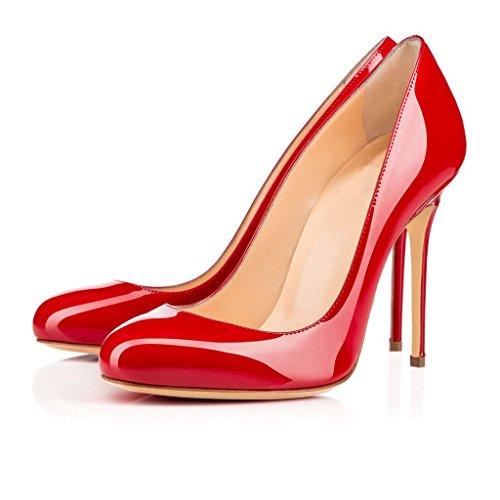 Grande Chaussures Rouge Rond Femmes uBeauty Aiguille Stiletto Talon Taille Bout Escarpins qPBUpfw