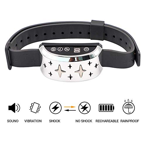 CHAUDER Anti Bark Collar for Small Dog Large Dog - Safe No Bark Collar, Rechargeable, Waterproof with Intelligent Vibration, Beep and Static Shock Training Mode (Silver)