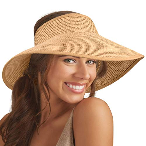 - Maylisacc Sun-Visor-Hats for Women with Large Wide Brim UV Protection Packable-Sun-Hat Vicera Mujer Khaki