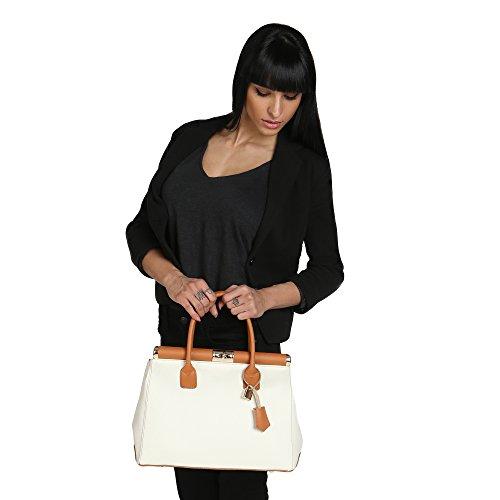 Chicca Borse Mujer Bolso con Correa de Hombro en Cuero Genuino Made in Italy 35x28x16 Cm Bicolor