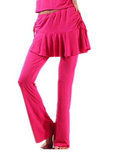 Mujeres Belly Culottes Dance Pantalones Dancewear Elastic Trousers Dance Clothes Ladies Dark Pink