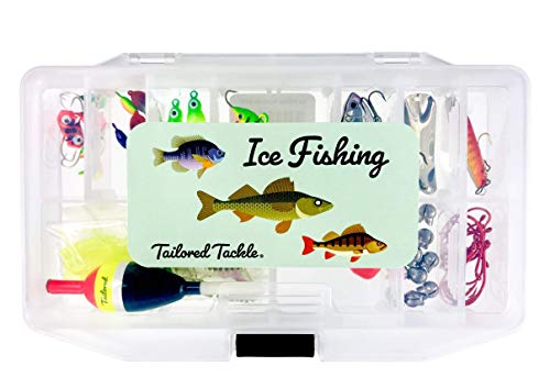 Tailored Tackle Ice Fishing Jigs Lures Kit Walleye Perch Panfish Crappie Bluegill Ice Fishing Gear Tackle Box 75 pcs.