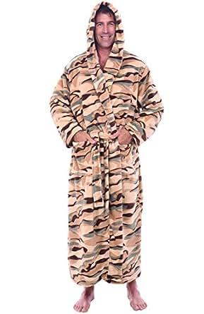 Alexander Del Rossa Mens Fleece Robe, Long Hooded Bathrobe, Small Medium Camouflage (A0125R39MD)