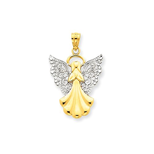 Gold Ice Necklace (ICE CARATS 14kt Yellow Gold Filigree Angel Pendant Charm Necklace Religious Fine Jewelry Ideal Gifts For Women Gift Set From Heart)