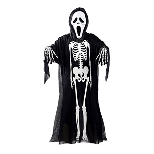 3pc of set Black and White Adult Ghost Skull Skeleton Clothes Halloween Cosplay Costume FU
