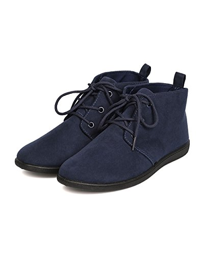 REFRESH Women Faux Suede Round Toe Lace Up Desert Bootie FH51 - Navy (Size: 6.0)