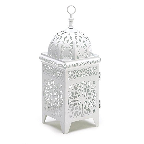 Pack of 12 Scrollwork Candle Lantern Home/Wedding Table Centerpiece in White - 4 1/4