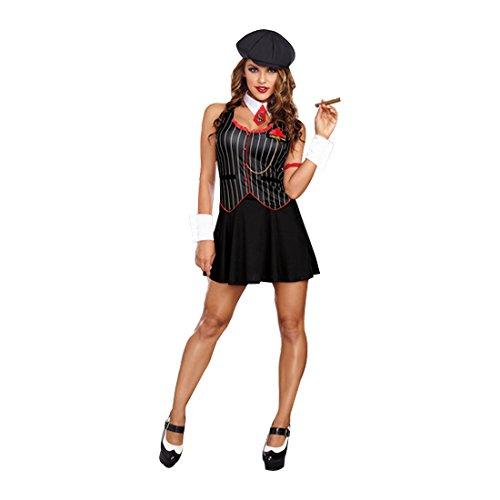 Gangster Girl Costume (Dreamgirl Women's Bad-Acious Gangster Costume, Black,)