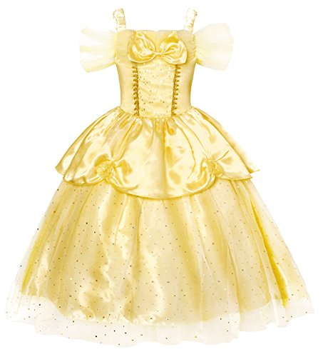 AmzBarley Girls Princess Belle Dress Sequin Overlay Fancy Party Dress Up Prom Cosplay Toddler Kids Child Halloween Costume Age 3-4 Years Size 4T