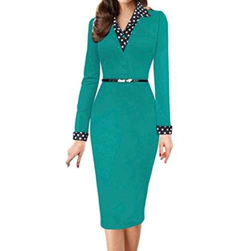 Joint Women Working Long Sleeve Work Sheath Business Pencil Dress Party Casual Dresses Dot Printed Knee Length Dress (X-Large, Green) by Joint Women Dress