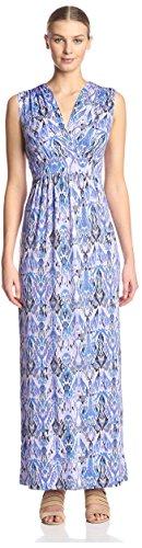 James & Erin Women's Faux Wrap Maxi Dress, Periwinkle/Multi, S