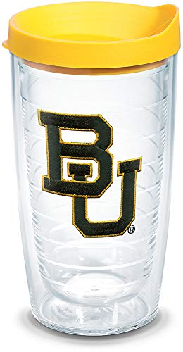 Tervis 1056052 Baylor Bears Logo Tumbler with Emblem and Yellow Lid 16oz, Clear