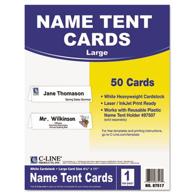 (C-Line® - Printer-Ready Name Tent Cards, 4-1/4 x 11, White Cardstock, 50 Letter Sheets/Box - Sold As 1 Box - Create name tents and signs using your laser or inkjet printer.)