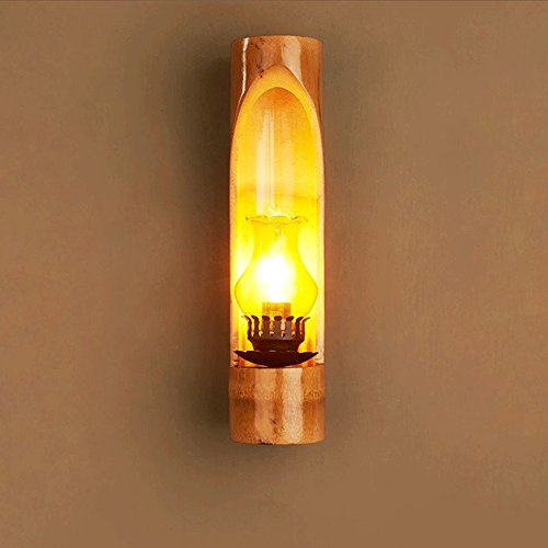 Retro Bamboo Wall Lamp Outdoor Lighting Fixture Coffee Shop Bar Home Decorative Light Single Head Wall Light by JYKJ