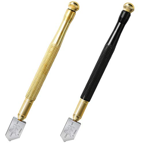 Teenitor Glass Cutter Set, Top Quality 2 Pieces 5mm-12mm Black Pencil Oil Feed Carbide Tip Glass Cutter Cutting Tool Black/Golden