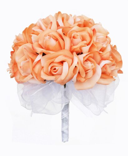 Peach Silk Rose Hand Tie (24 Roses) - Artificial Silk Bridal Wedding Bouquet