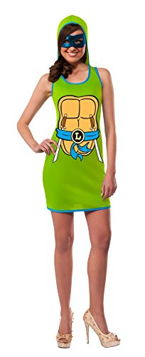 Rubie's Costume Co Women's TMNT Classic Costume Leonardo Hooded Tank Dress, Green, Small (Ninja Turtles Costume For Women)