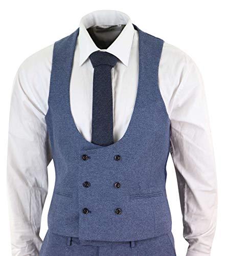 Veston Mélangée Coupe Tweed Peaky Style Costume Slim Pièces Bleu Homme 3 Vintage Laine Blinders Croisé gvw1tqx0