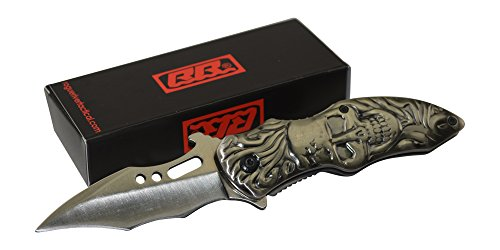 Rogue-River-Tactical-Silver-Skull-Skeleton-Pocket-Knife-Spring-Assisted-Sharp-Blade-Folding-Knife