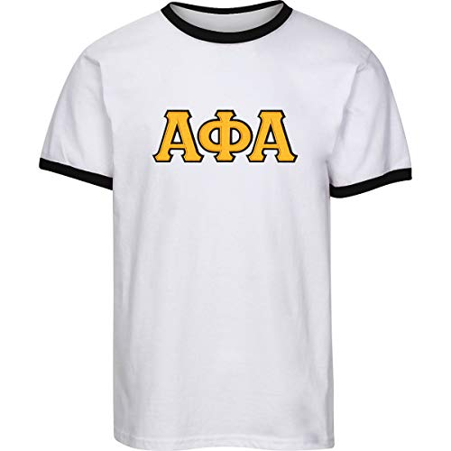 - Fashion Greek Alpha Phi Alpha Embroidered Twill Letter Ringer T Shirt White/Gold Extra Large