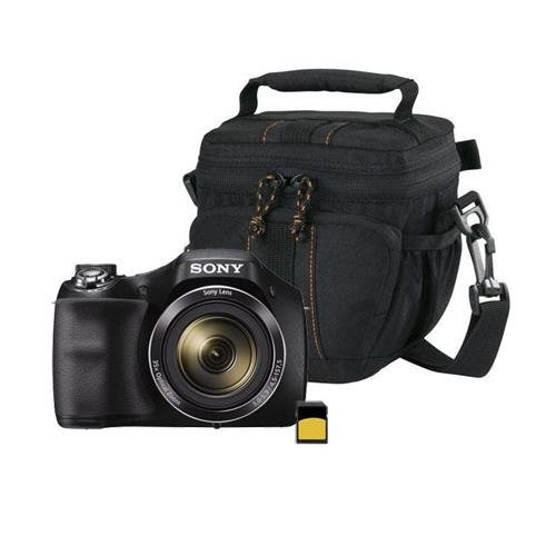 Sony Cyber Shot Dsc H300 Digital Camera  20 1Mp  35X Optical Zoom  Black   Bundle With 16Gb Class 10 Sdhc Card  Lowepro Holster Case