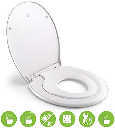 WC Sitz Family, HIIMIMI Familien Toilettendeckel mit magnetisch zu befestigenden Kindersitz, Absenkautomatik,Verstellbares Scharnier, Quick-Release-Funcktion/O-Form PP Klobrille(447x371x55mm)