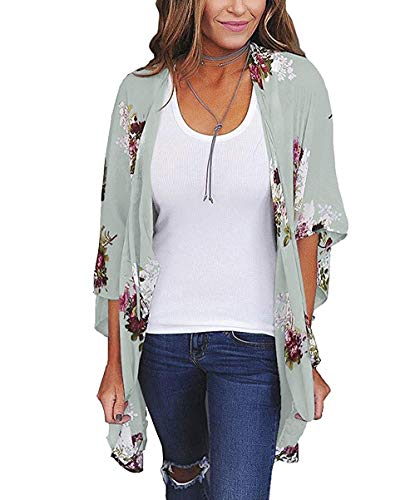 Women's Floral Print Kimonos Loose Tops Half Sleeve Shawl Chiffon Cardigan Blouses Casual Beach Cover Ups (XX-Large, Light- green3)