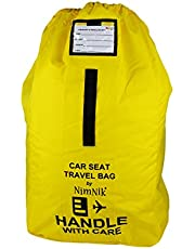 Car Seat Travel Bag - Ultra Rugged Ballistic Nylon, Best for Airport, Airplane Gate Check, Comfortable Padded Shoulder Strap and Carry Handle, Yellow