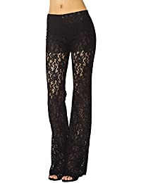 iB-iP Women's Eyelet Lace Crochet Slim Fit And Flare Wide Leg Low Rise Culottes