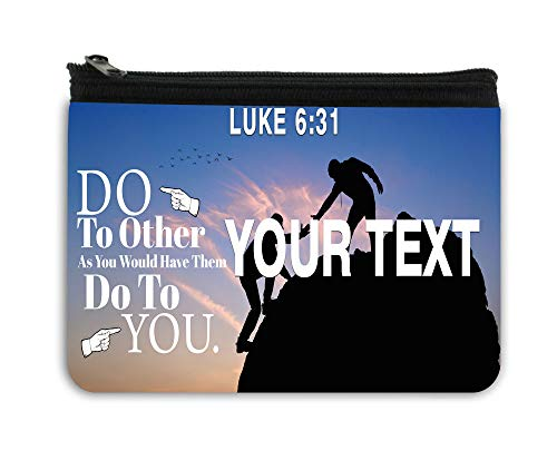 BRGiftshop Personalized Bible Series Love Verse Luke 6-31 License Plate Neoprene Coin Purse (Thirty One Coin Purse Wallet)