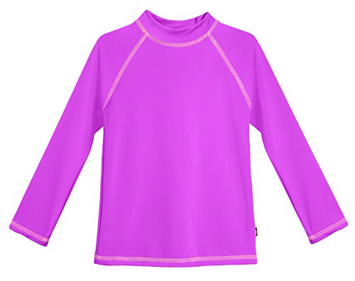 City Threads LS Little Girls' Rashguard Swimming Suit Swim Tshirt Tee UPF50+ Sun Protection For Beach Pool Summer Fun, Deep Purple, 2T (Protection Ls)