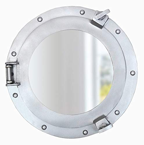 - Nautical Round Ship Porthole Windows - Maritime Nautical Home Decor/Boat Fan Gift (Aluminum Silver Mirror)