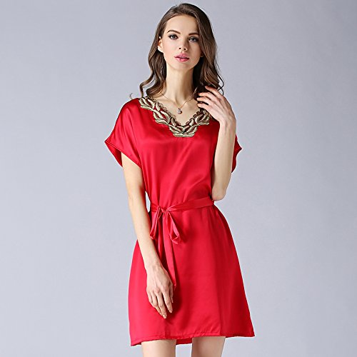 wxin/Home Service de soie/couleur solide à manches courtes des Lingerie de nuit Soie/femmes/chemise de nuit de soie F Big Red