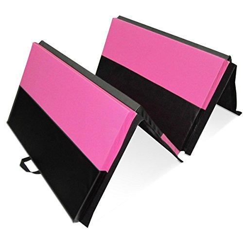 HYD-PARTS Folding Gymnastics Mat, Children Tumbling Pads Folding Excise Yoga Fitness mat (Rose-Red&Black Strip)