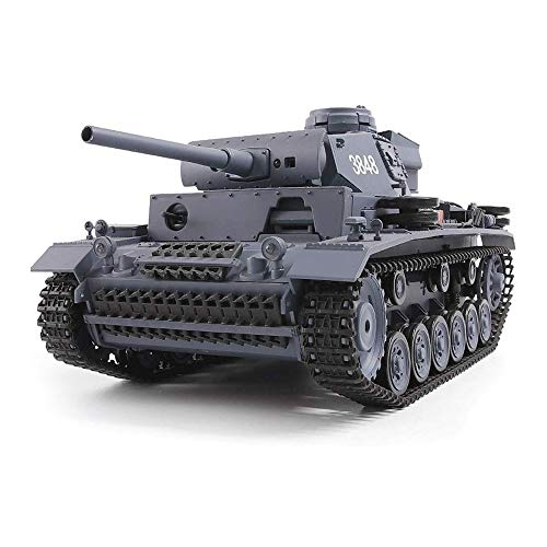 YUBAIBA Metal Remote Control Tank, 1:16 2.4Ghz Charging Remote Control Tank German Alloy Wireless Turret, Combustible…
