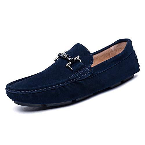Royalbleu 44 EU EGS-chaussures Chaussures de Loisirs for Hommes Slip-on lumière Anti-Slip Plat Bout Rond datant des Affaires en métal en Cuir synthétique Chaussures de Cricket (Couleur   Royalbleu, Taille   44 EU)