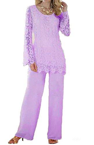 Dislax Two Piece Lace Mother of Bride Pants Suit light purple US 16 (Pants Two Piece Suit)