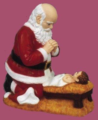 24 inch Kneeling Santa - Outdoor Vinyl Statue, Full Color Finish