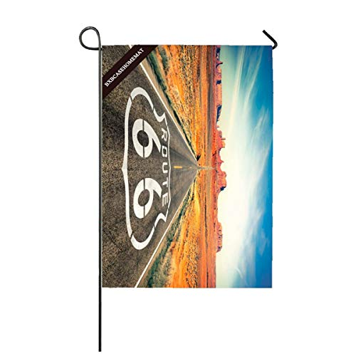 (BXBCASEHOMEMAT USA Route 66 Rider Motorcycle Garden Flag 12 x 18 Garden Yard Decorations Outdoor Flag )