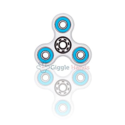 Giggle Hands Fidget Spinner Toy Stress Reducer - Perfect For ADD, ADHD, Anxiety, and Autism Adult Children (White, Regular)
