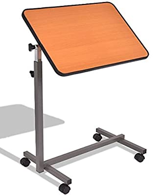 K&A Company Computer Rolling Table Laptop Desk Cart Stand Office Portable Mobile Shelf Storage Adjustable Home Study Workstation Notebook Over Bed Food Tray Small Beige