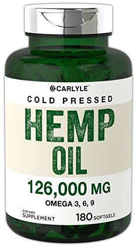 Hemp Oil Capsules 126,000 mg per Bottle   180 Softgels   Max Potency   Non-GMO, Gluten Free   Cold Pressed Supplement   by Carlyle